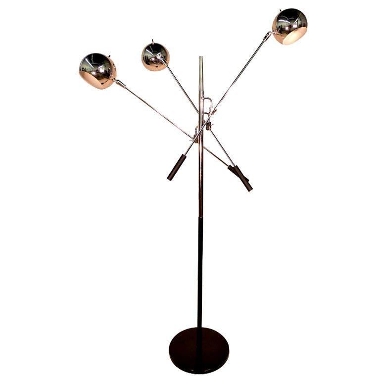 Three-Arm Articulating Chrome Ball Floor Lamp at 1stdibs