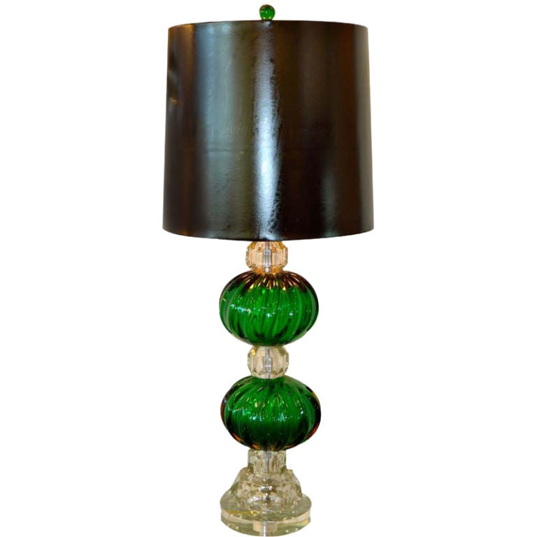 1940's Seguso Emerald Green Murano Glass Lamp