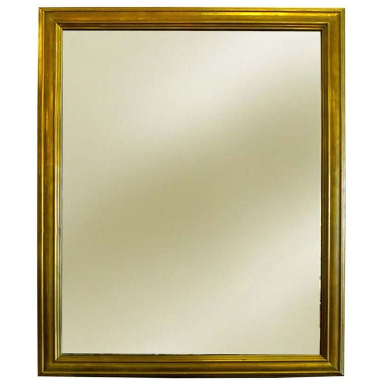 Antique French Brass Framed Mirror For Sale at 1stdibs