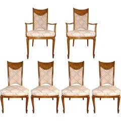 Set of 6 Walnut Burl Dining Chairs by Mastercraft