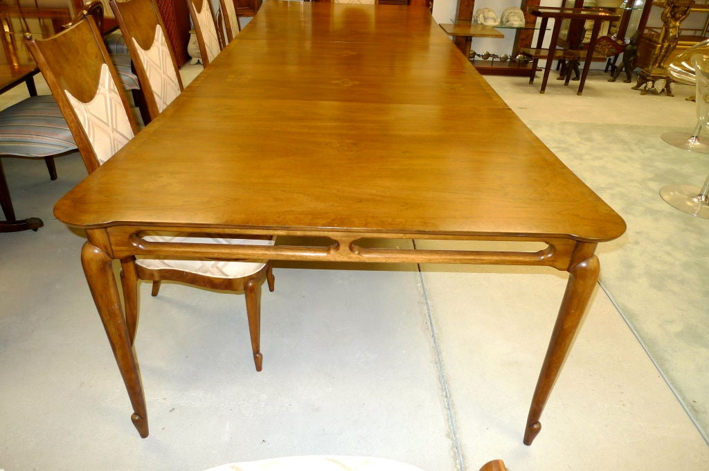 extra large mastercraft walnut dining table with three leaves at 1stdibs. Black Bedroom Furniture Sets. Home Design Ideas