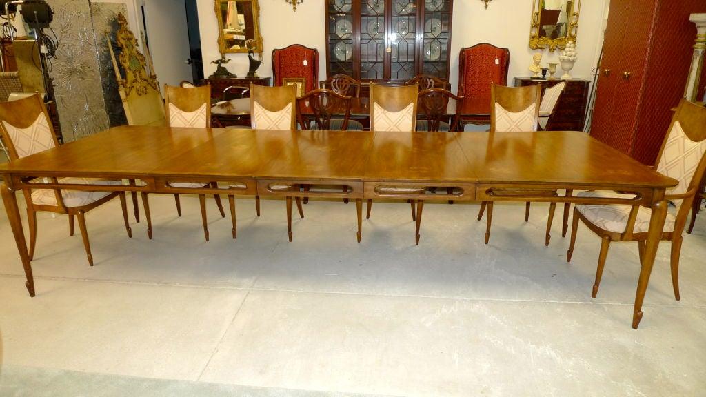 Extra Large Mastercraft Walnut Dining Table With Three Leaves Image 2