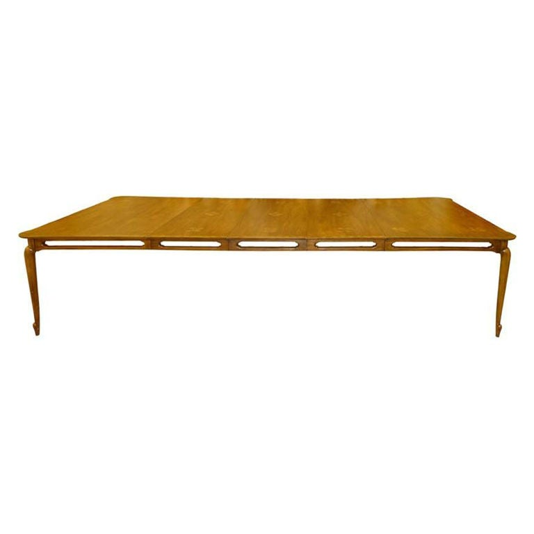 Extra Large Mastercraft Walnut Dining Table With Three Leaves At