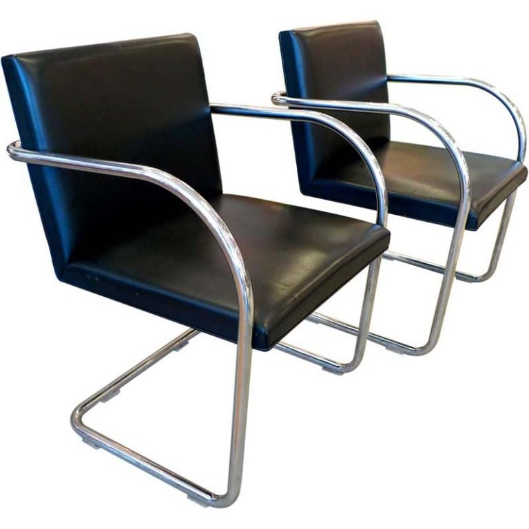 Pair of Mies van der Rohe Tubular Chrome Brno Chairs by Knoll