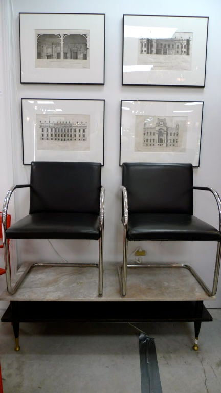 Pair of Mies van der Rohe Tubular Chrome Brno Chairs by Knoll 2