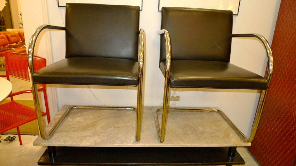 Pair of Mies van der Rohe Tubular Chrome Brno Chairs by Knoll 3