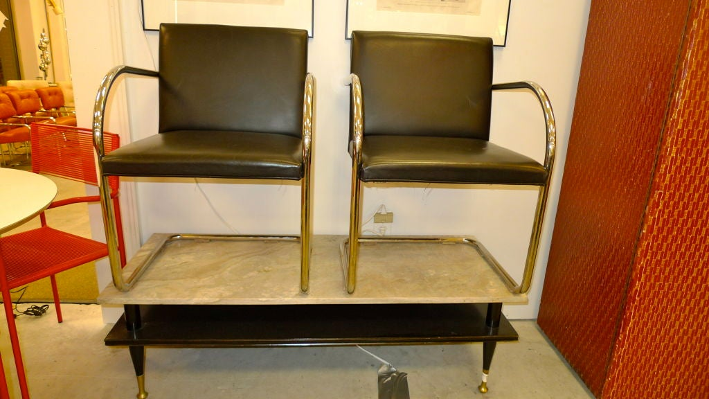 Pair of Mies van der Rohe Tubular Chrome Brno Chairs by Knoll 4