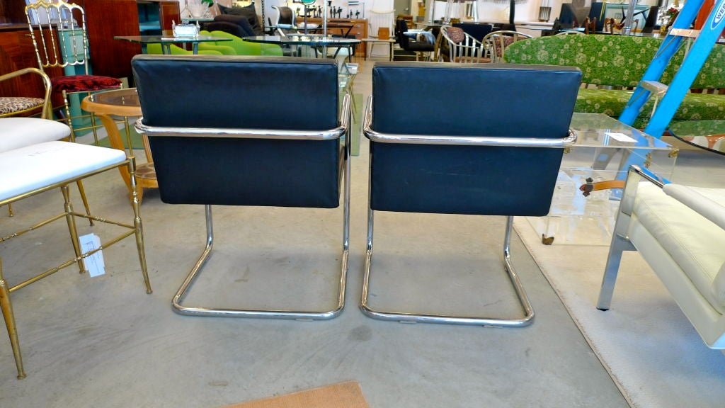 Pair of Mies van der Rohe Tubular Chrome Brno Chairs by Knoll 6