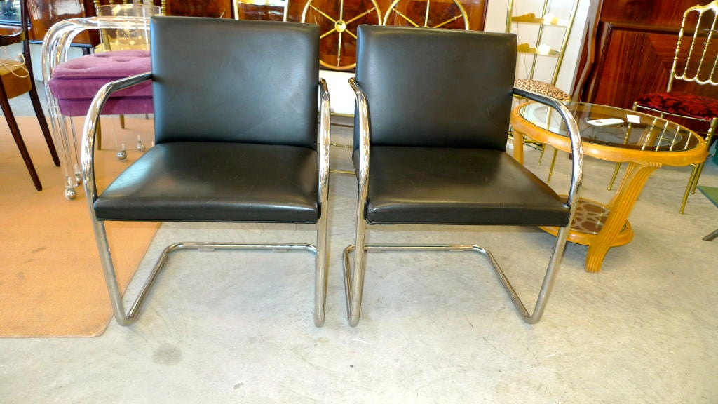 Pair of Mies van der Rohe Tubular Chrome Brno Chairs by Knoll 7