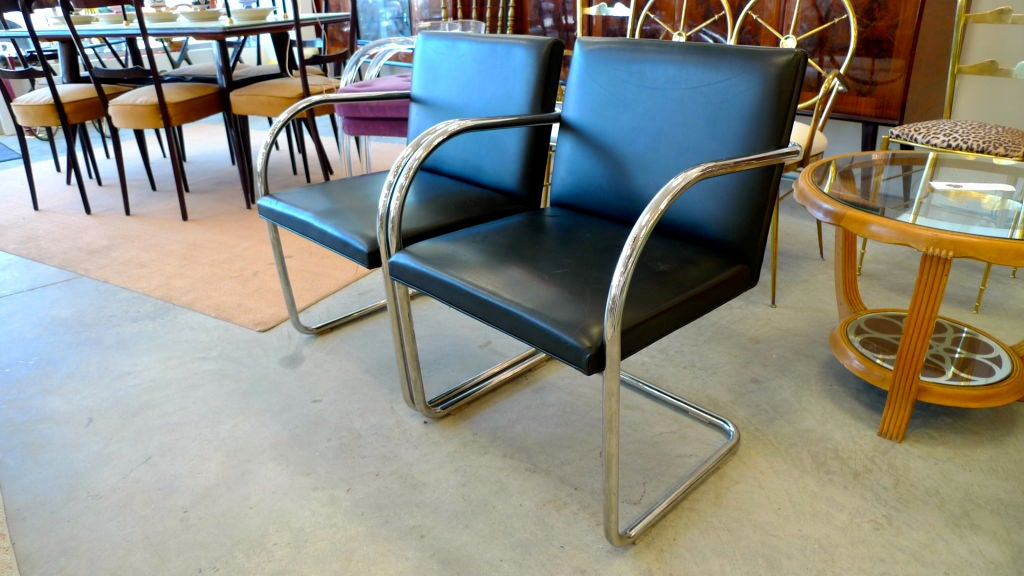 Pair of Mies van der Rohe Tubular Chrome Brno Chairs by Knoll 8
