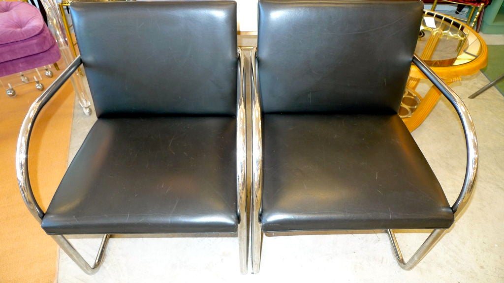 Pair of Mies van der Rohe Tubular Chrome Brno Chairs by Knoll 9
