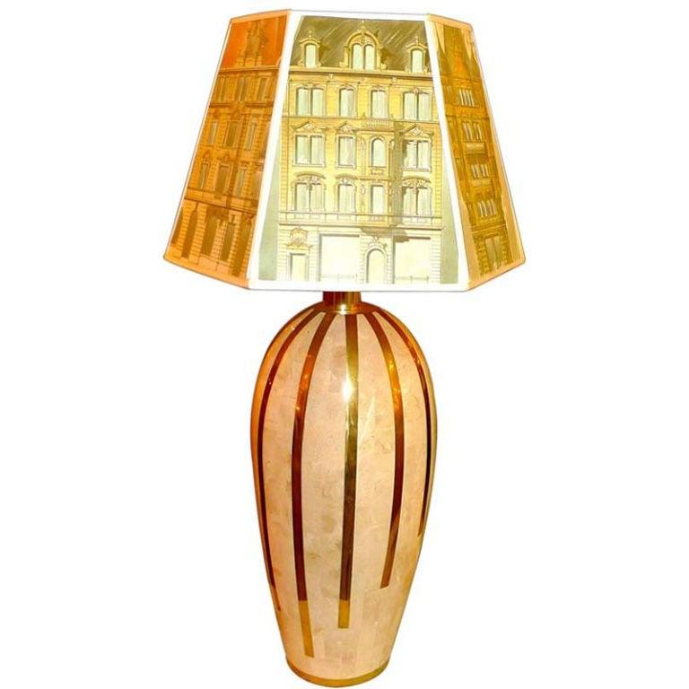 Tesselated Stone & Brass Lamp