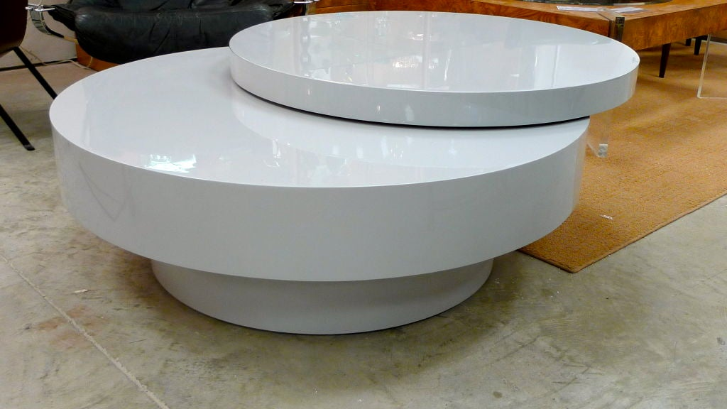 Lacquered Three Tier Round Cocktail Table With Swiveling Top At 1stdibs