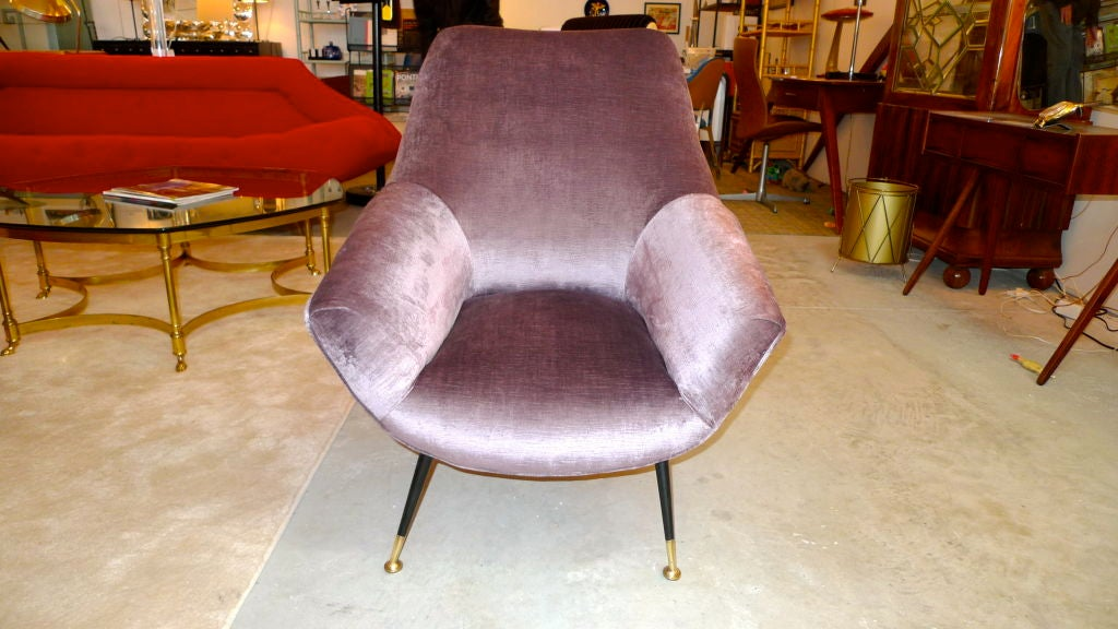 """I call this the 'Lee Radziwill Chair' because it is a petite and stylish thoroughbred.  Most likely produced by Arflex.  Newly upholstered in shimmering lilac velvet.<br /> <br /> Internal seat measurements 14"""" wide x 17.5 deep."""