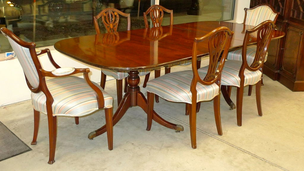 federal mahogany double pedestal dining table by old colony at 1stdibs