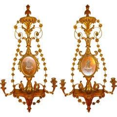 Pair of Italian Girondole Candelabra Mirrors