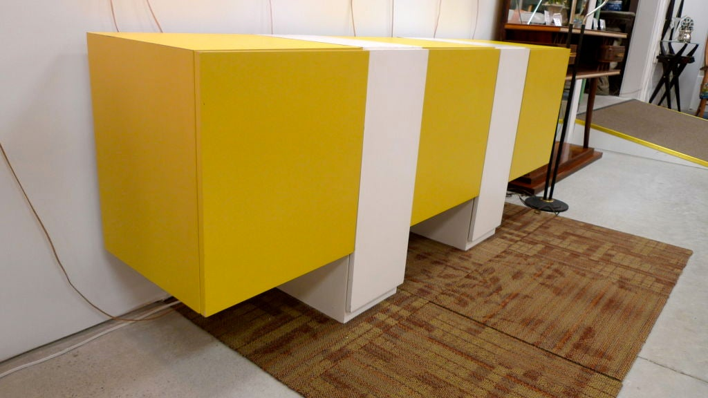 Custom Yellow And White Sideboard Credenza At 1stdibs