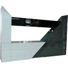 Aldo Tura Mirrored Cabinet Bar On Pedestal Stand At 1stdibs