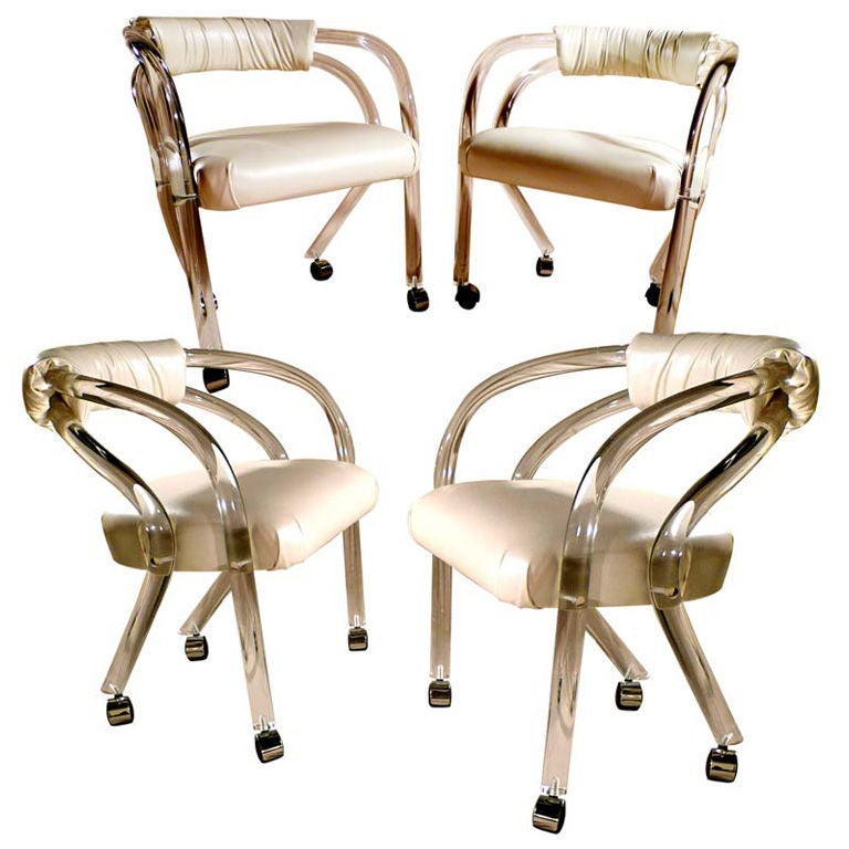 Set Of 4 Lucite Chairs On Casters For Sale At 1stdibs