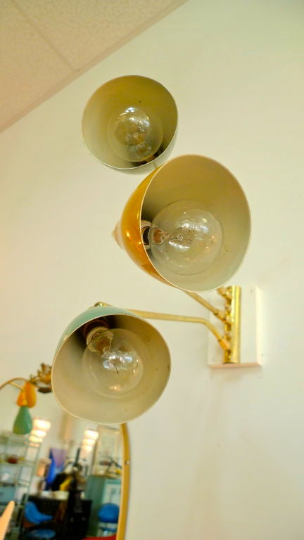 Pair Of 3 Arm Italian Wall Lights From The 1950 S At 1stdibs
