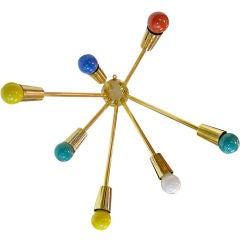 French 1950's Brass Sputnik Sconce