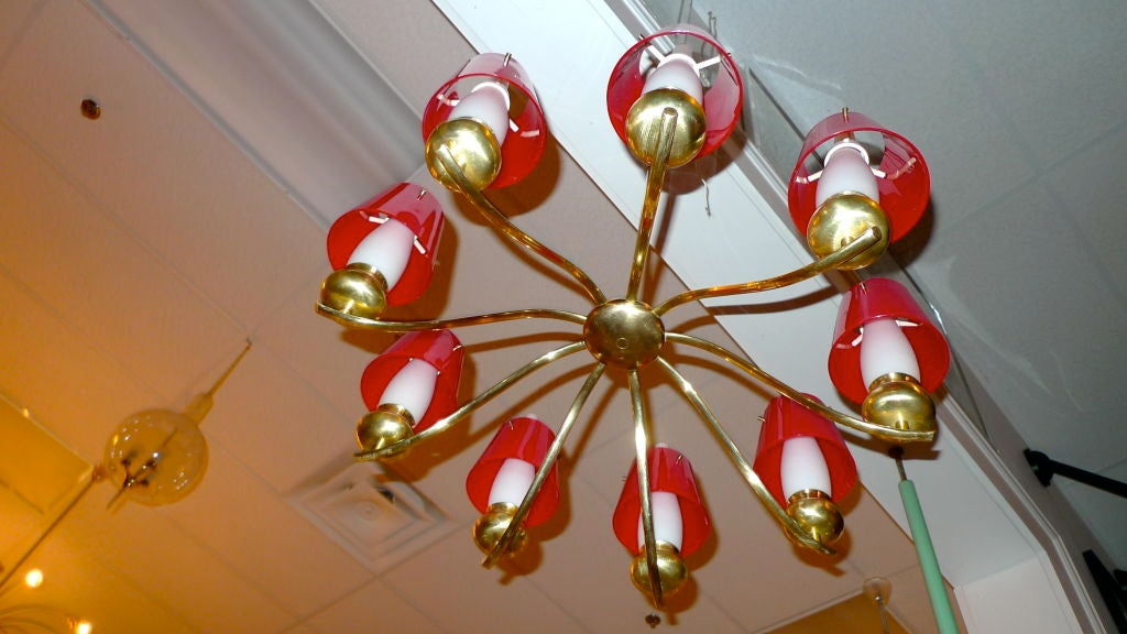 Angelo Lelii for Arredoluce Chandelier Model #12611 In Excellent Condition For Sale In Hingham, MA