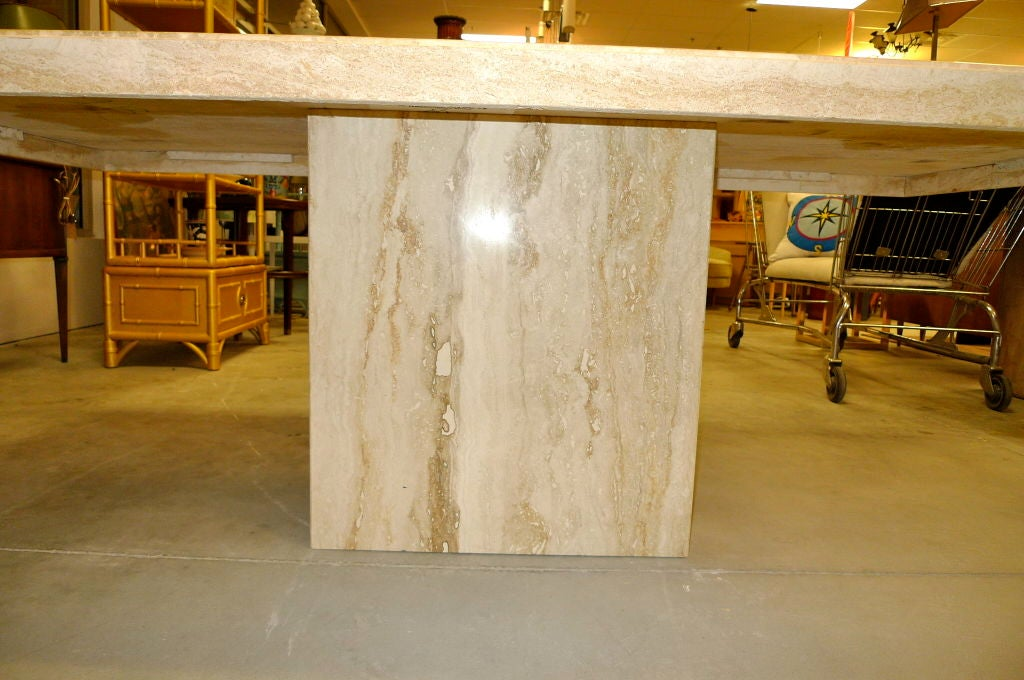 Travertine Marble Pedestal Dining Table At 1stdibs