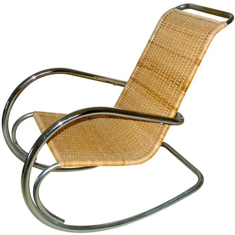 Italian Tubular Chrome & Wicker Rocking Chair
