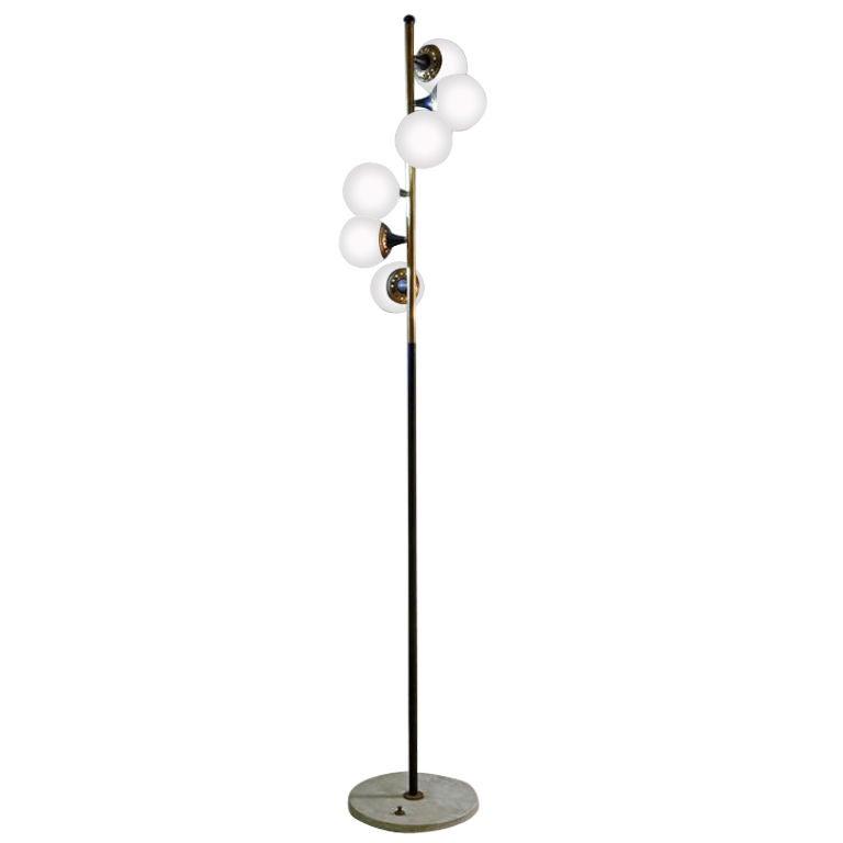 195039s italian six globe floor lamp at 1stdibs for Retro globe floor lamp