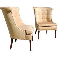 Pair Curved Back Slipper Chairs