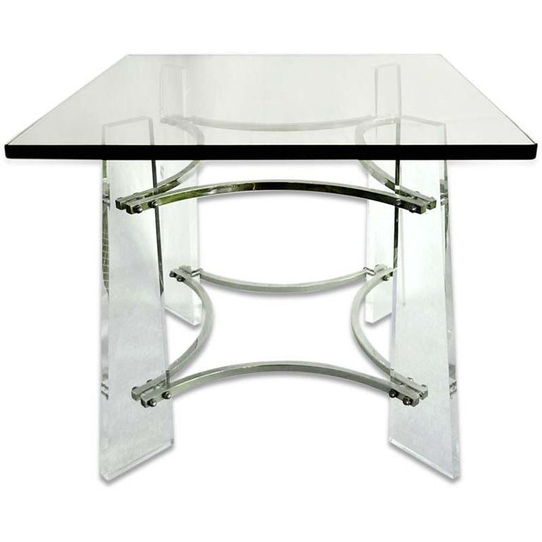Charles Modern 47 Square Glass Top Coffee Table W: Lucite And Nickel Square Occasional Table By Charles
