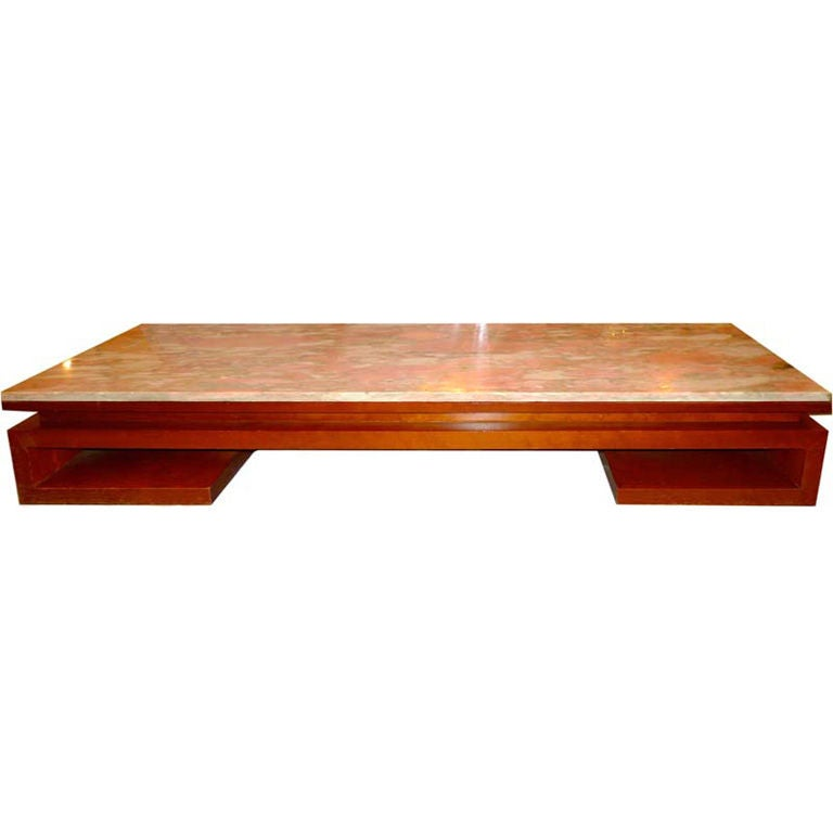 Paul Frankl Mahogany Opium Table With Pink Marble Top 1