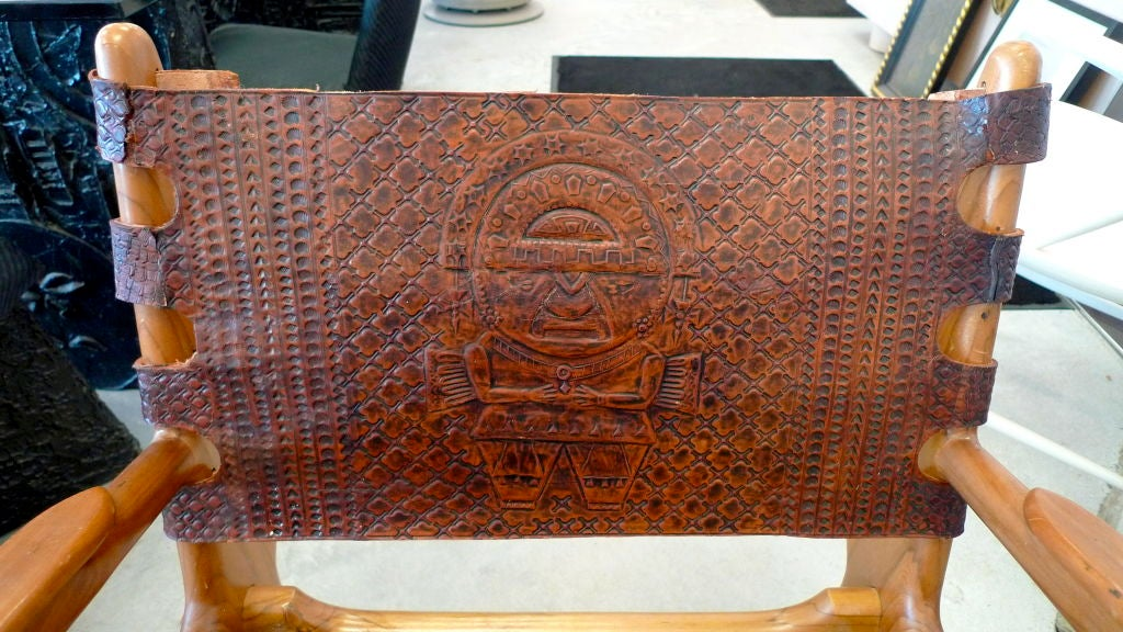 Ecuadorian Tooled Leather Lounge Chair For Sale 2