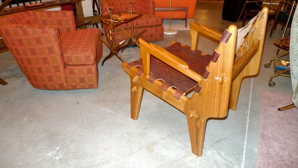 Ecuadorian Tooled Leather Lounge Chair For Sale 1