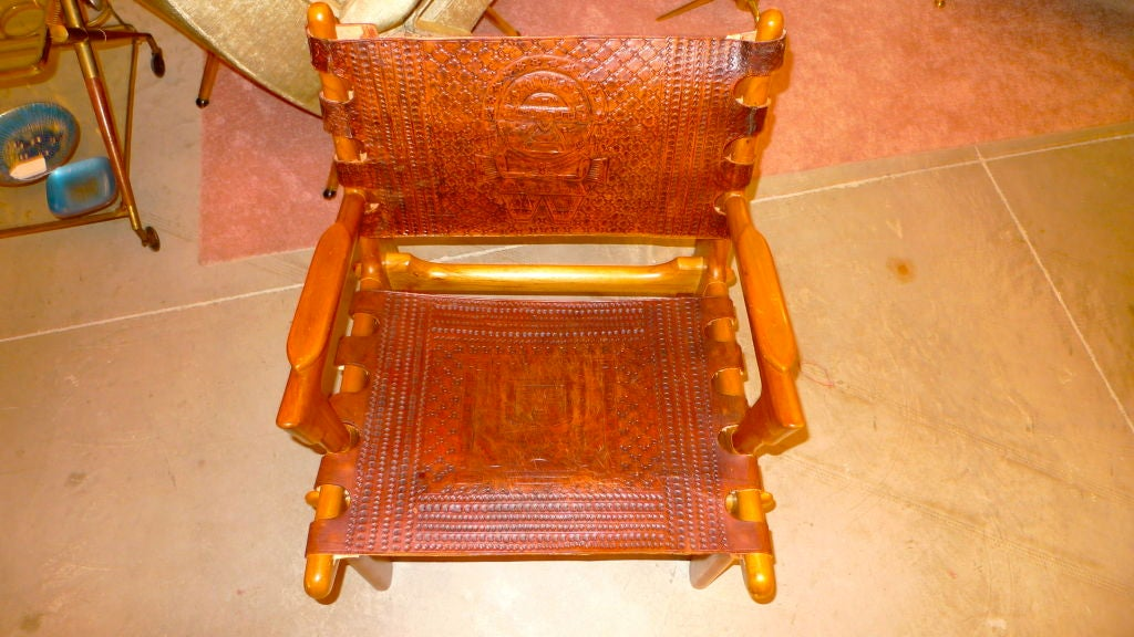 Ecuadorian Tooled Leather Lounge Chair For Sale 4