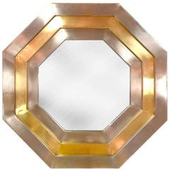 French 1970's Octagonal Mirror by Michel Pigneres