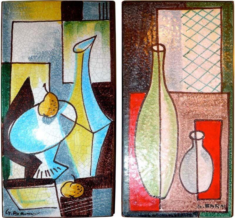 Pair Of Mid Century Italian Painted Tiles Signed G Barni