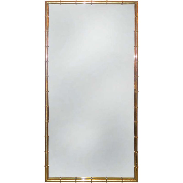 brass faux bamboo long mirror by mastercraft for sale at