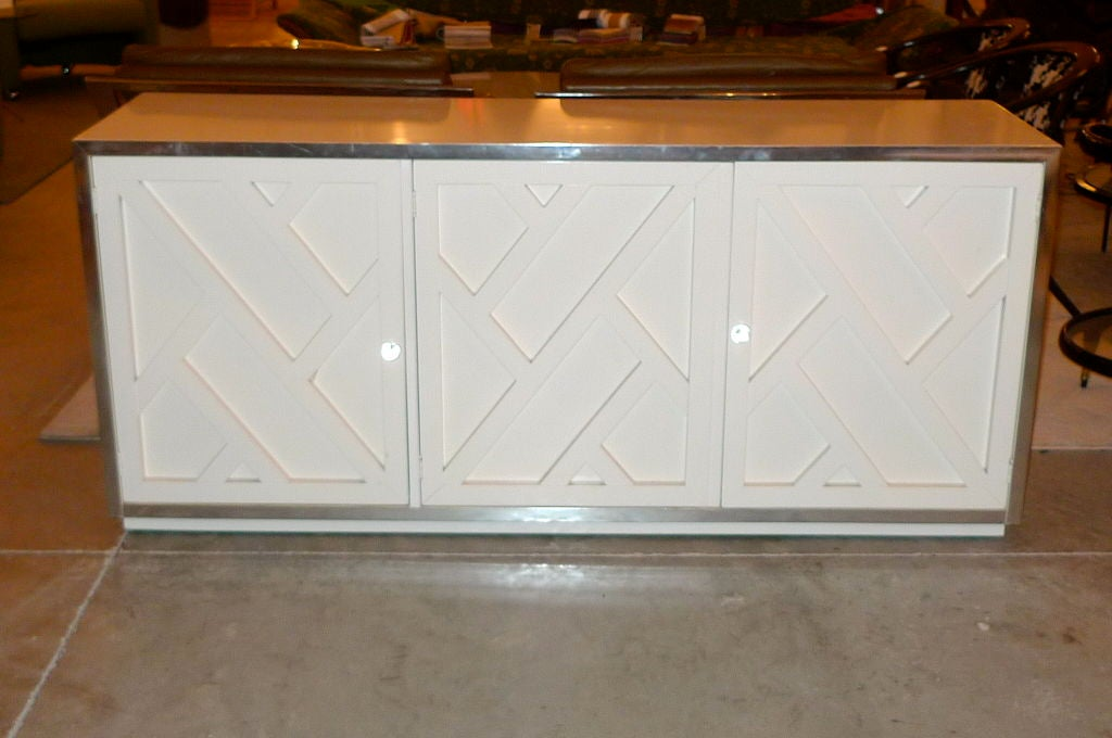 Chrome & White Lacquer Trellis Front Credenza by Thomasville 2