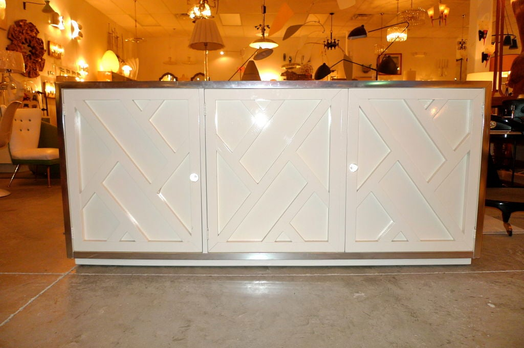 Chrome & White Lacquer Trellis Front Credenza by Thomasville 3