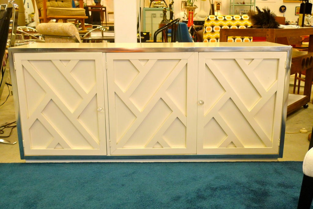 Chrome & White Lacquer Trellis Front Credenza by Thomasville 4
