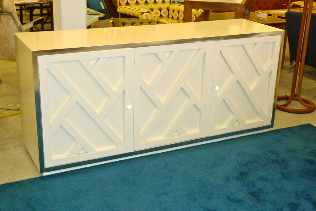 Chrome & White Lacquer Trellis Front Credenza by Thomasville 5