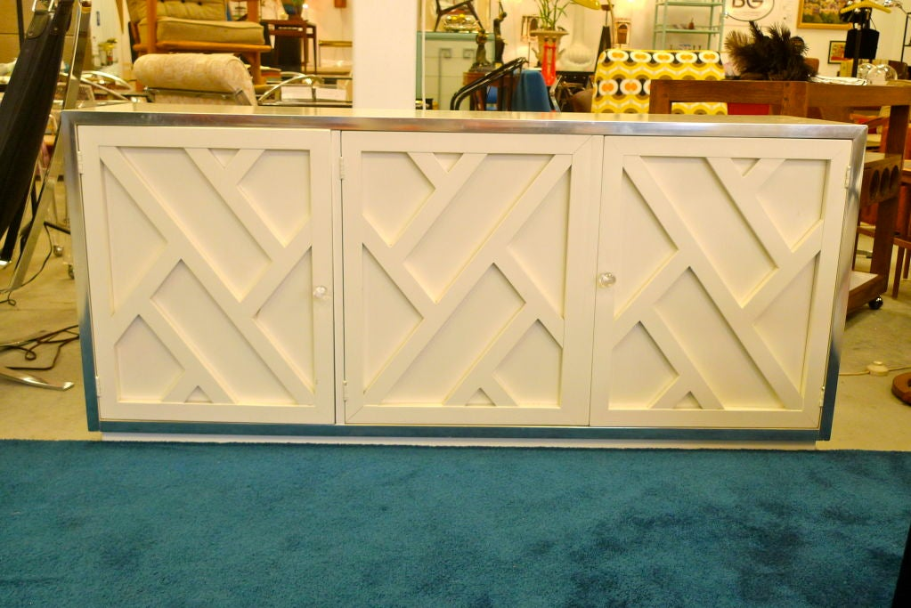 Chrome & White Lacquer Trellis Front Credenza by Thomasville 6
