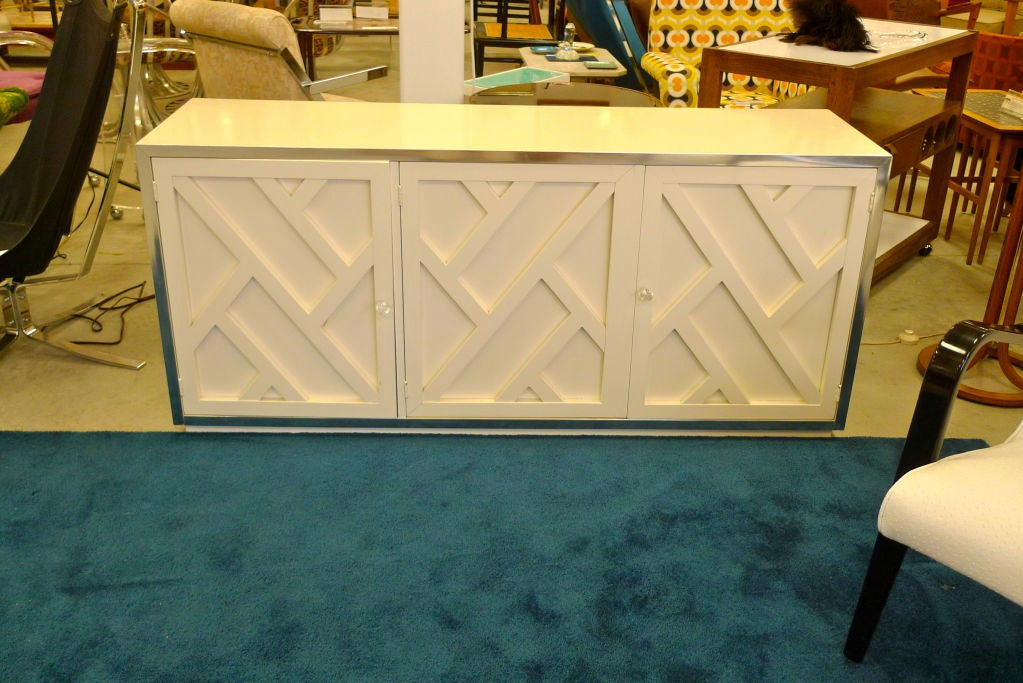 Chrome & White Lacquer Trellis Front Credenza by Thomasville 7