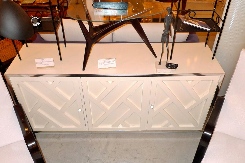 Chrome & White Lacquer Trellis Front Credenza by Thomasville 8