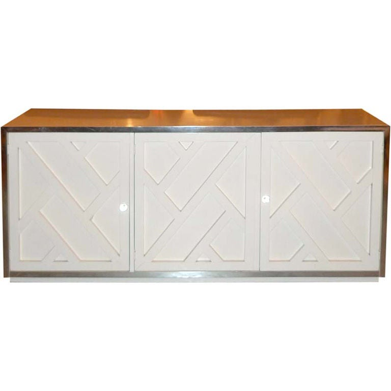 Chrome & White Lacquer Trellis Front Credenza by Thomasville 1