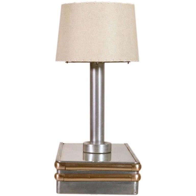 S.S. United States Floating Side Table with Lamp For Sale