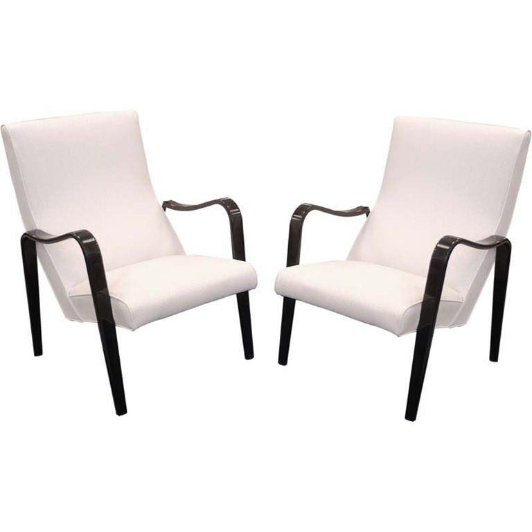 Pair of Ebonized Thonet Lounge Chairs in Faux Ostrich at 1stdibs