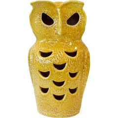 Italian Glazed Clay Owl Lamp