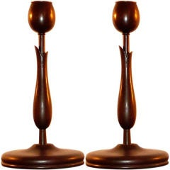 Pair of Mahogany Tulip Candlesticks